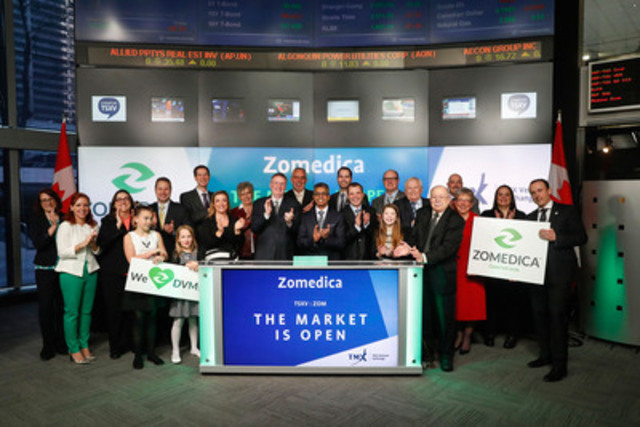 Gerald Solensky, Jr., Chief Executive Officer, Zomedica Pharmaceuticals Corp. (ZOM) joined Richard Rohan, VP, Corporate Sales, TMX Equity Transfer & Trust Company to open the market. Zomedica is a veterinary pharmaceutical company based in Ann Arbor, Michigan, targeting health and wellness solutions for companion animals (canine, feline and equine) through an approach that focuses on the needs of clinical veterinarians. Zomedica Pharmaceuticals Corp. commenced trading on TSX Venture Exchange on May 2, 2016. (CNW Group/TMX Group Limited) (CNW Group/Toronto Stock Exchange)