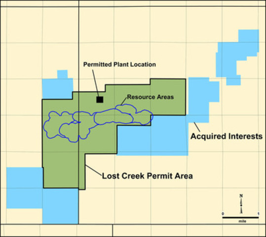 Map showing the Property Interests being conveyed to Ur-Energy and their location relative to its Lost Creek Project. (CNW Group/Ur-Energy Inc.)
