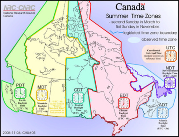 Summer Time Zones (CNW Group/National Research Council Canada)