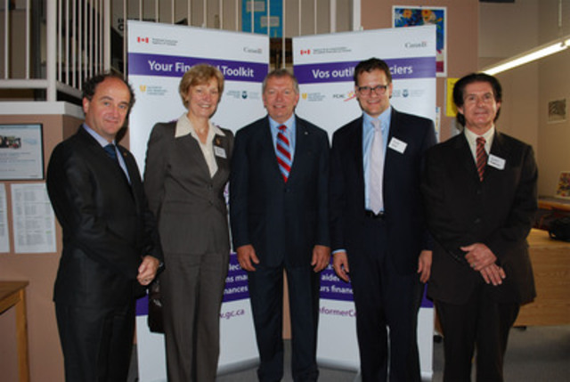 From left to right, Camille Beaudoin, Director of Financial Education at l'Autorité des marchés financiers, Ursula Menke, Commissioner of the Financial Consumer Agency of Canada, the Honourable Ted Menzies, Minister of State (Finance), Tom Hamza, President of the Investor Education Fund and Don Palmer, Executive Director of Causeway Work Centre. (CNW Group/Financial Consumer Agency of Canada)