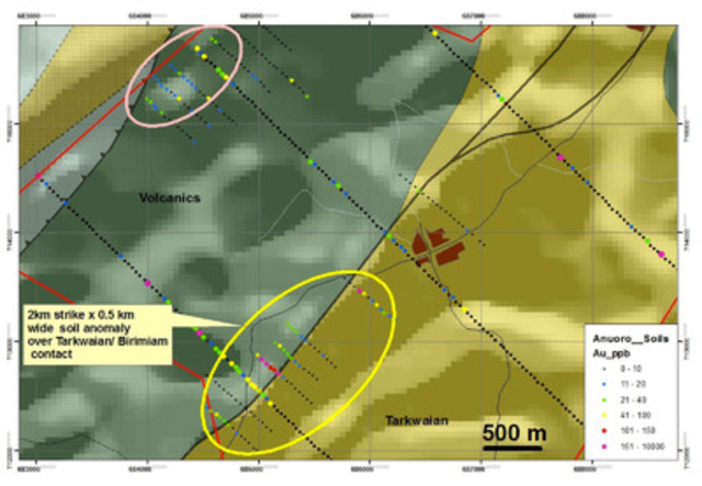 South Zone Map supplied by Newmont Ghana Gold Limited. (CNW Group/AMI Resources Inc.)