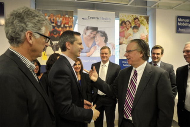 Ontario Premier Dalton McGuinty chats with Daniel Carriere, President and CEO of Centric Health Corp., which acquired Motion Specialties Inc. in February 2012 (CNW Group/Centric Health Corporation)