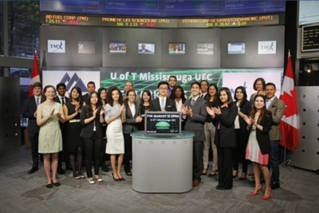 The Undergraduate Economics Council (UEC) of the University of Toronto Mississauga joined Monika Marcziova Senior Account Manager, Equities Trading, TMX Group to open the market. UEC is a student-run organization which represents over 3,000 undergraduate economics students. With the support of the Department of Economics of UTM, UEC organizes workshops, seminars and the annual FX Trading Competition - where 100+ undergrads gain experience trading currencies by combining their theoretical understanding with real-world trading strategies. For more information visit uecutm.ca. (CNW Group/TMX Group Limited)