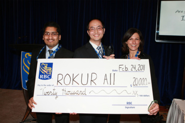 2010/11 winning team, ROKUR AII (University of Waterloo), accept their prize, a cheque for $20,000. (CNW Group/RBC)