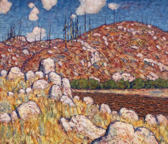 La vente de la toile hautement attendue de Lawren Harris, Laurentian Landscape, a largement dépassé les évaluations préliminaires pour se chiffrer à 2 183 000 $ (évaluation : de 1 200 000 $ à 1 600 000 $). (Groupe CNW/Heffel Gallery Limited)