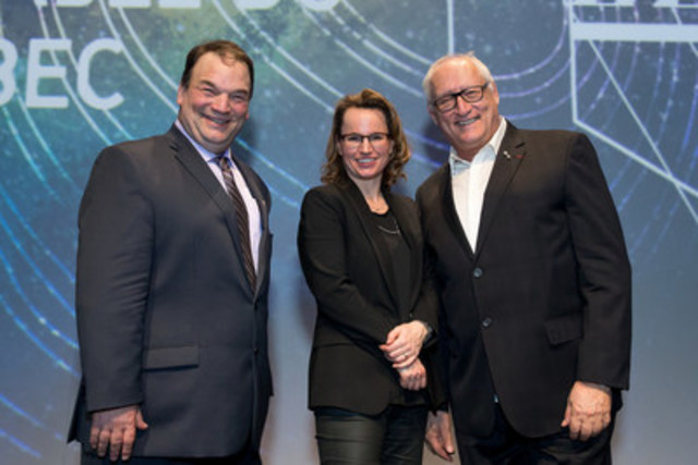 From left to right: Serge Beaulieu, President of the Federation of Quebec Maple Syrup Producers (FPAQ), Geneviève C. Béland, FPAQ Director of Promotion, Innovation and Market Development, and Bernard Voyer, an explorer, mountaineer and public speaker. (CNW Group/Federation of Quebec Maple Syrup Producers)