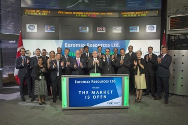 Steve Sharpe, President & CEO, Euromax Resources Ltd. (EOX), joined Eleanor Fritz, Director, Compliance & Disclosure, Toronto Stock Exchange to open the market. Euromax Resources is a Canadian exploration and development company with a major development project in Macedonia and an exploration services company in Bulgaria. Euromax Resources Ltd. graduated from TSX Venture Exchange, and commenced trading on Toronto Stock Exchange on July 11, 2016. For more information, please visit www.euromaxresources.com. (CNW Group/TMX Group Limited)