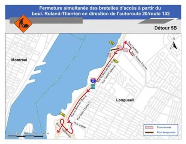 Pour le détour 5B : Carte illustrant le détour 5B pour la fermeture simultanée des bretelles d'accès à partir du boul. Roland-Therrien en direction de l'autoroute 20 / route 132. (Groupe CNW/Ministère des Transports)