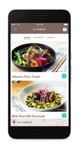 The Feast Android app gives customers the ability to order dinner in a few taps. (CNW Group/Feast Inc)