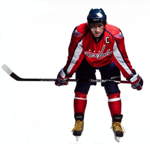 "Alex Ovechkin models his new gear after signing a long-term deal that will see him exclusively wear Bauer on-ice equipment beginning this season."" (CNW Group/BAUER HOCKEY, INC.)"