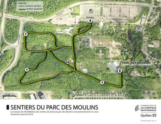 Plan des futurs sentiers du boisé du parc des Moulins (Groupe CNW/Commission de la capitale nationale du Québec (CCNQ))