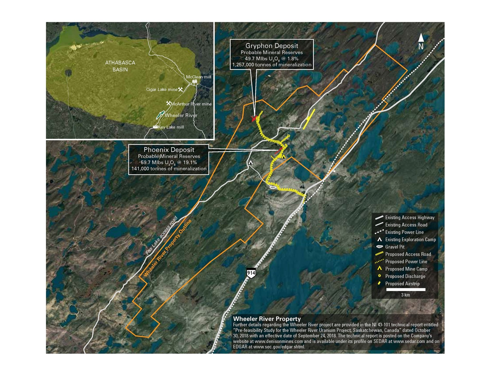 Figure 1: Location map of the Wheeler River project, showing existing and proposed infrastructure
