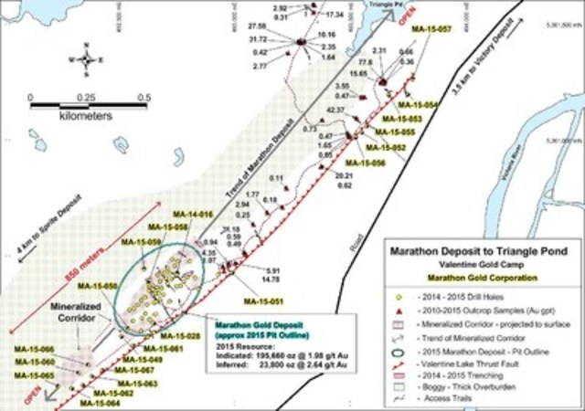 Figure 1: Location of step-out drilling up to 400m meters SW of the current Marathon deposit open pit resource as well as the drilling along the western margin and to the NE along strike of the Marathon deposit, Valentine Gold Camp. (CNW Group/Marathon Gold Corporation)