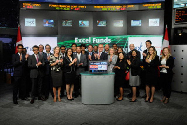 Adrian Herschell, Director, Excel Funds Management Inc. joined Amelia Nedovich, Head, Business Development, Exchange Traded Funds and Structured Products, TMX Group to open the market to launch Excel India Growth & Income Fund (EGI.UN). Excel Funds Management Inc. and Excel Investment Counsel Inc., the fund's portfolio manager, are part of the Excel Funds group, which manages 13 other investment funds focused on the emerging markets. As of May 31, 2015, Excel Funds has three closed-end funds listed on Toronto Stock Exchange with a market value of $105 million. Excel India Growth & Income fund commenced trading on Toronto Stock Exchange on May 26, 2015. For more information please visit www.excelfunds.com. (CNW Group/TMX Group Limited)