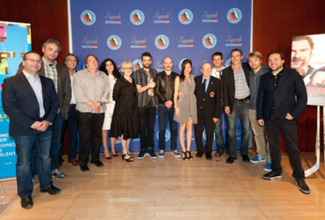 Winners Jay Baruchel and Michael Dowse with producers, distributors and actors from Goon; Hockey Hall of Fame goaltender Johnny Bower; and representatives from Telefilm Canada, including Executive Director Carolle Brabant. (CNW Group/Telefilm Canada)