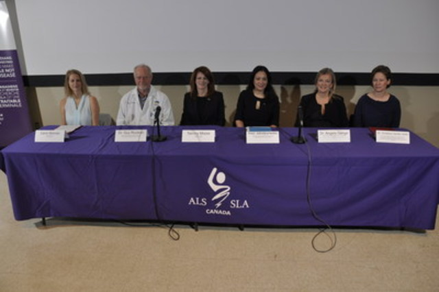 At an event today in Montreal, ALS Societies across Canada and the ALS Canada Research Program, in partnership with Brain Canada and the federal government's Canada Brain Research Fund, announced the recipients of $15 million in ALS (amyotrophic lateral sclerosis) research in Canada made possible in part by the ALS Ice Bucket Challenge.  In the picture from left to right: Carol Skinner, ALS advocate; Dr. Guy Rouleau, Director, Montreal Neurological Institute and Hospital; Tammy Moore, CEO, ALS Society of Canada; Inez Jabalpurwala, President and CEO, Brain Canada Foundation; Dr. Angela Genge, Director of the ALS Clinic, Montreal Neurological Institute and Hospital; and Dr. Christine Vande Velde, Scientist, University of Montreal Hospital Research Centre (CRCHUM) and Associate Professor at the Department of Neuroscience, Université de Montréal. (CNW Group/ALS Society of Canada)