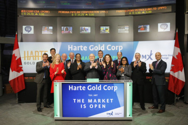 Stephen Roman, Chairman, President & CEO, Harte Gold Corp. (HRT), joined Loui Anastasopoulos, Vice President, TSX Company Services, Toronto Stock Exchange & TSX Venture Exchange to open the market. Harte Gold Corp. is focused on the exploration and development of its 100% owned Sugar Zone property where it has permitted a 70,000 tonne advanced exploration and bulk sample for the Sugar Zone Deposit – which is the first ore shipment in the history of the company! Harte Gold Corp. commenced trading on Toronto Stock Exchange on June 6, 2011. For more information, please visit www.hartegold.com. (CNW Group/TMX Group Limited)