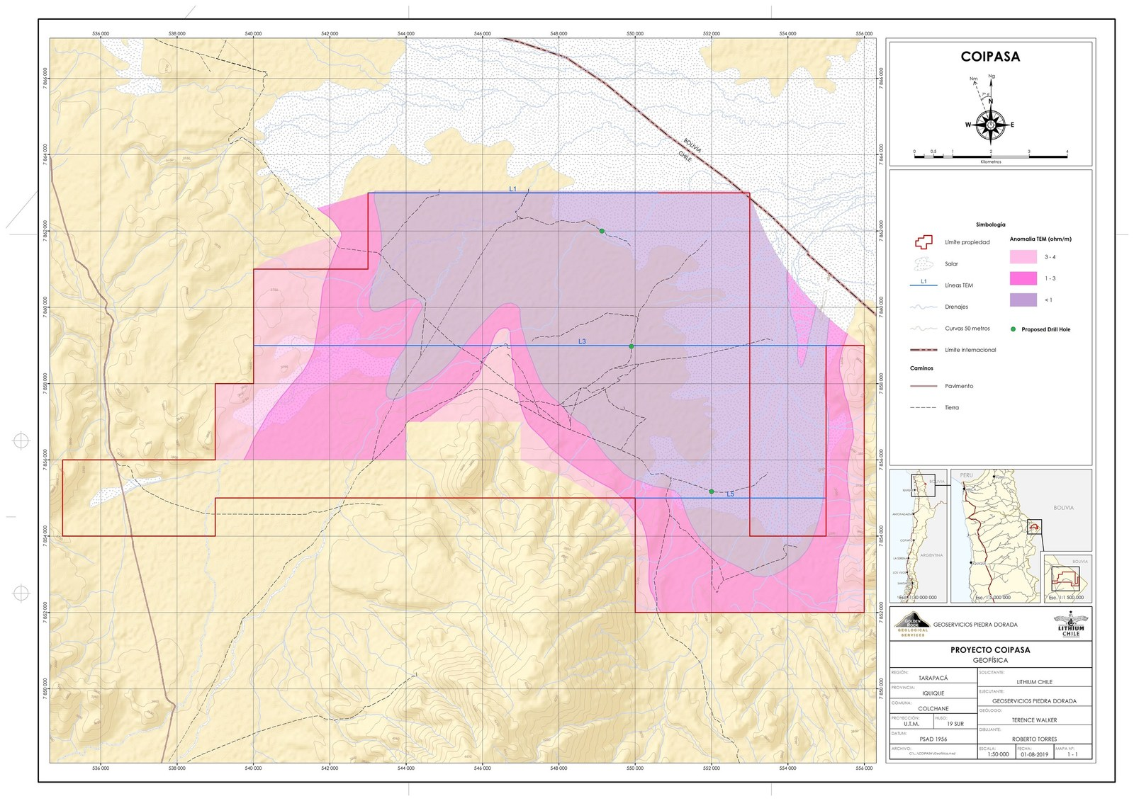 Coipasa Property - TEM and Proposed Drill Hole Location