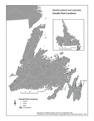Newfoundland and Labrador - Canada Post Locations (CNW Group/Canadian Union of Postal Workers)
