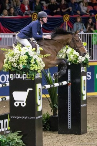 Ireland's Daniel Coyle won the inaugural Alfred Rogers Uplands Under 25 National Championship after topping both phases of competition riding Fortis Fortuna for owners Susan and Ariel Grange of Lothlorien Farm. Photo by Mackenzie Clark (CNW Group/Royal Agricultural Winter Fair)