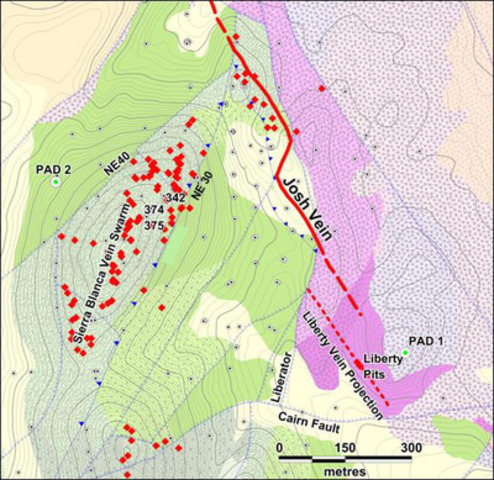Figure 2: Geologic map of the Sierra Blanca Area indicating the locations of the Liberty Vein, Josh Vein surface and Liberator Vein projected to surface.  In addition the map shows the distribution of veins in the Sierra Blanca Vein Swarm along the main axis of the Sierra Blanca deposit. Red diamonds indicate the locations of outcropping quartz veinlets. (CNW Group/Corvus Gold Inc.)