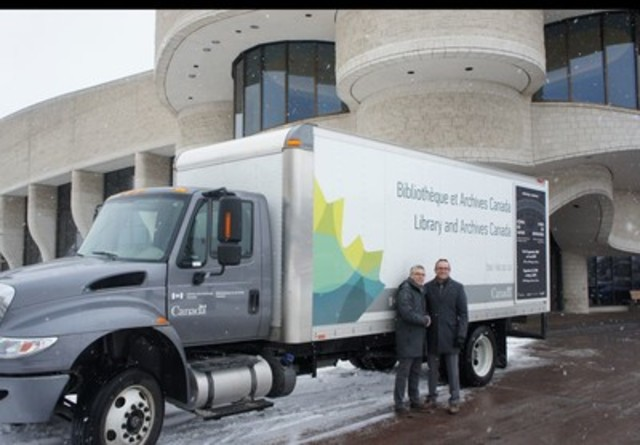Jean-Marc Blais, Director General of the Canadian Museum of History with Normand Charbonneau, Assistant deputy minister and Chief Operating Officer of Library and Archives Canada. (CNW Group/Canadian Museum of History)