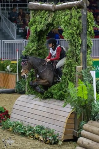 Toronto's own Rachel McDonough placed second in the $20,000 Horseware Indoor Eventing Challenge riding Irish Rhythm. Photo by Ben Radvanyi Photography (CNW Group/Royal Agricultural Winter Fair)