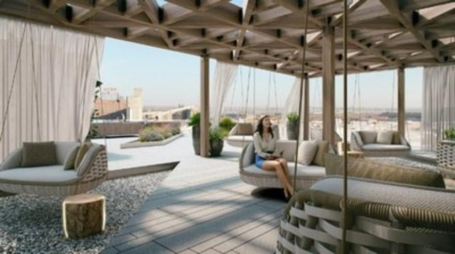 La future terrasse du projet Éléments Condominiums offrira des vues spectaculaires sur Montréal. (Groupe CNW/Devimco Immobilier)