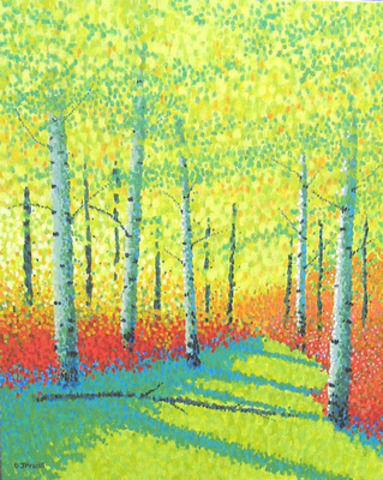 """Autumn Spirit"" by Calgary artist Jim Pescott whose unique contemporary pointillist style brings images to the canvas that are fresh, surprising, open-ended, poetic and spiritual. (CNW Group/Paintings In Dots)"