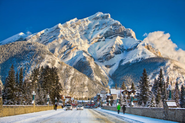 Cascade Mountain over Banff Avenue in Banff National Park, Alberta. Credit: Paul Zizka (CNW Group/Travel Alberta)
