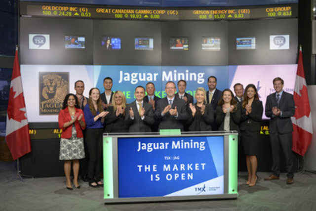 Rodney Lamond, Chief Executive Officer, Jaguar Mining Inc. (JAG), joined Rob Peterman, Director, Global Business Development, Toronto Stock Exchange & TSX Venture Exchange to open the market. Jaguar Mining Inc. is a junior gold mining, development and exploration company with three gold mining complexes, and a large land package located in the state of Minas Gerais, Brazil. Jaguar Mining Inc. graduated from TSX Venture Exchange, and commenced trading on Toronto Stock Exchange on August 3, 2016. (CNW Group/TMX Group Limited)