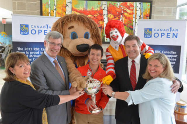RBC and Golf Canada name Ronald McDonald House Charities Canada official charity partner of the RBC Canadian Open (Left to right - RMH Toronto CEO Jane Marco, RBC Group Head Dave McKay, 2013 World Figure Skating Champion Patrick Chan, Golf Canada CEO Scott Simmons and RMHC Canada CEO Kathy Loblaw) (CNW Group/RBC)