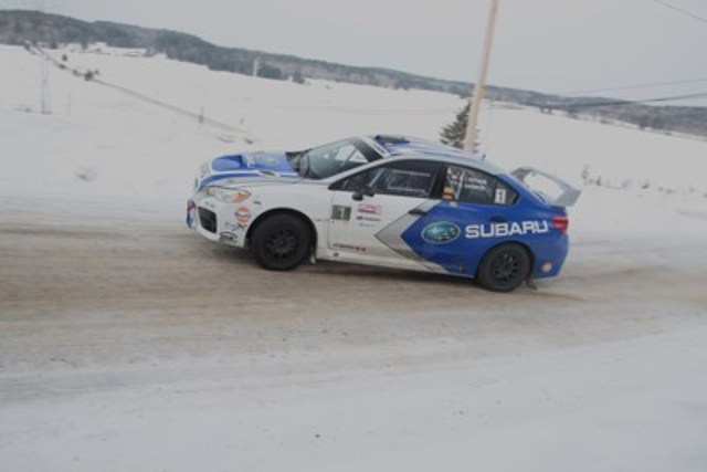 Subaru Rally Team Canada push through an icy apex at the first event of the 2016 Canadian Rally Championship, ...