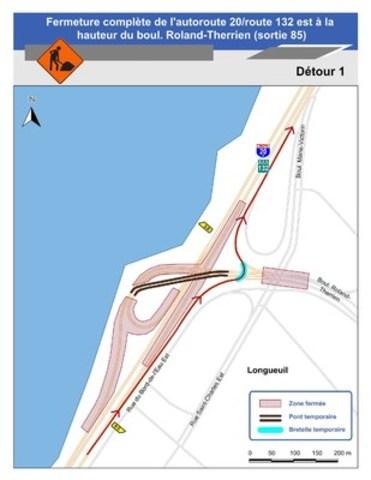 Pour le détour 1 : Carte illustrant le détour 1 pour la fermeture complète de l'autoroute 20 / route 132 est. (Groupe CNW/Ministère des Transports)