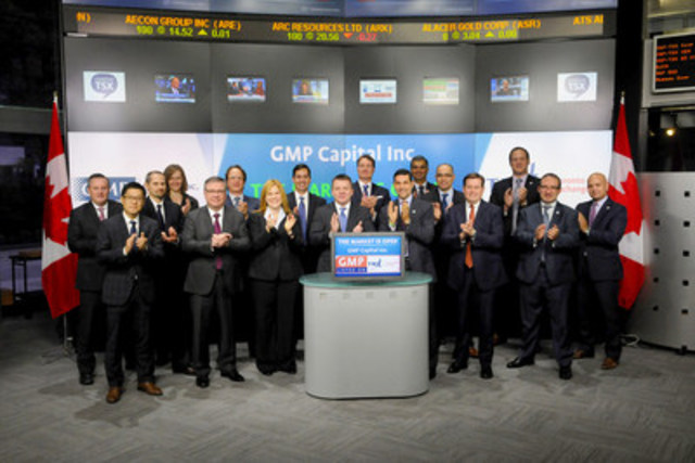 Harris Fricker, CEO, GMP Capital Inc. (GMP) joined Ungad Chadda, Senior Vice President, Toronto Stock Exchange to open the market to celebrate its 20th year anniversary in the Canadian capital markets and as a member and participating organization with the Toronto Stock Exchange. Founded in 1995, GMP is an  independent diversified financial services firm providing a wide range of financial products and services to a global client base. GMP Capital Inc. (074) is a Participating Organization of Toronto Stock Exchange, Member of the TSX Venture Exchange and TSX Alpha Exchange. For more information please visit gmpcapital.com. (CNW Group/TMX Group Limited)