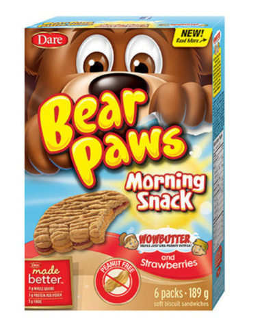 New Dare Bear Paws Morning Snack Wowbutter® and Strawberries taste just like peanut butter but are peanut-free (CNW Group/Dare Foods Limited)