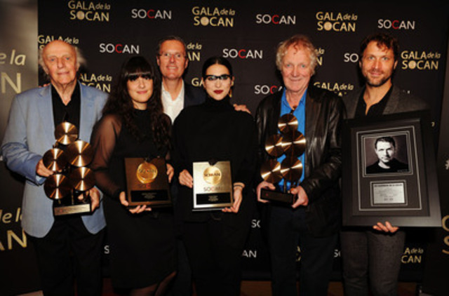 Some of the 26th annual SOCAN Montreal Awards winners (from left to right): Gilles Vigneault (Cultural Impact Award), Laurence-Lafond-Beaulne and Camille Poliquin of Milk & Bone (Breakout Award), SOCAN's Chief Executive Officer Eric Baptiste, Pierre Létourneau (Lifetime Achievement Award) and Kevin Parent (five SOCAN Classic Awards) (Photo: SOCAN-Michel Gagné) (CNW Group/SOCAN)