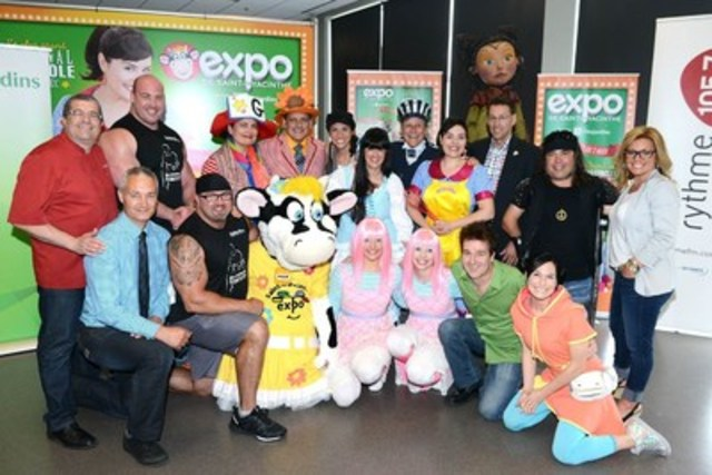 L'Expo spokesperson, Ari Cui Cui in company of the president of l'Expo 2015, Denis Godin and some of the main artists who will be present at the event including Martin Deschamps, strong man Jean-François Caron, Monsieur Craquepoutte and Guylaine Tanguay. (CNW Group/Exposition agricole et alimentaire St-Hyacinthe)