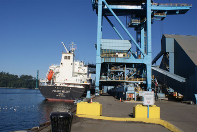 MV Polaris Melody being loaded at the Port of Vancouver on Saturday, September 2, 2011. (CNW Group/Copper Mountain Mining Corporation)