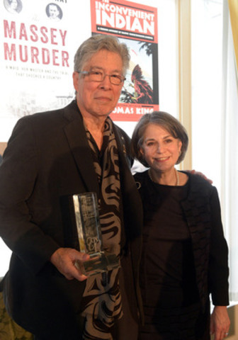 RBC Taylor Prize 2014 winner was announced today. Thomas King won the annual non-fiction prize for his book The Inconvenient Indian: A Curious Account of Native People in North America. From left to right, Thomas King and Prize founder Noreen Taylor. (CNW Group/RBC Taylor Prize)
