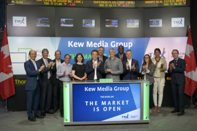 Steven Silver, Chief Executive Officer, alongside Peter Sussman, Chairman, Kew Media Group Inc. (KEW.UN), joined Shaun McIver, Chief Client Officer, Equity Capital Markets, TMX Group, to open the market. Kew Media Group Inc. is a special purpose acquisition corporation (SPAC) focused on small-to-medium sized international media production, distribution and talent management opportunities with an emphasis on Canada, the United States and the United Kingdom. Kew Media Group Inc. is the 6th SPAC to list on Toronto Stock Exchange. Kew Media Group Inc. commenced trading on Toronto Stock Exchange on June 13, 2016. (CNW Group/TMX Group Limited)
