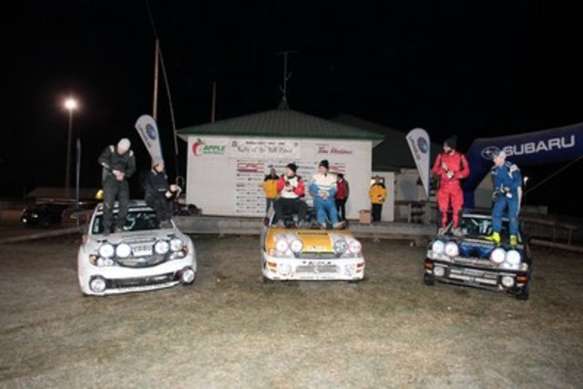 Rally of the Tall Pines 2015 ended with an all-Subaru podium with winner's Sylvain Vincent and Simon Vincent (centre), Brandon Semenuk and John Hall (left) finishing second, and Jeremy Norris and Jeff Hagan (right) in third. © 2015 Rocket Rally Racing by Philip Ericksen/Radikal Videos. (CNW Group/Subaru Canada Inc.)