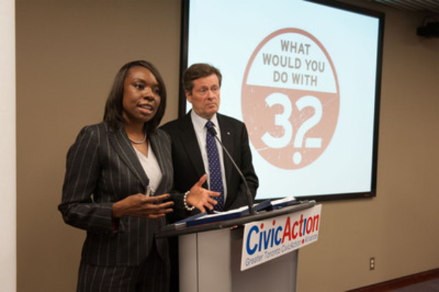 """CivicAction CEO Mitzie Hunter and Chair John Tory update media on the Your32 Campaign."" (CNW Group/CivicAction)"