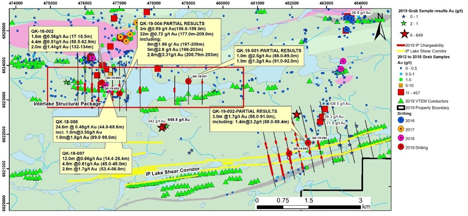 Figure 4:  Interlake and IP Lake Shear Zone Areas – Geology and Drilling Results to–date