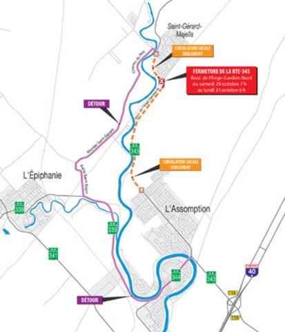 Chemin de détour  de la fermeture complète de la route 343 à L'Assomption (Groupe CNW/Ministère des Transports, de la Mobilité durable et de l'Électrification des transports)