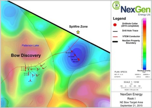 Figure 5: Northeast of Bow Discovery Drill Hole Locations (CNW Group/NexGen Energy Ltd.)