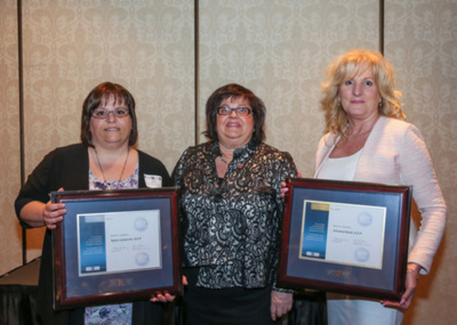 The Canadian Payroll Association welcomed 212 newly certified Payroll Compliance Practitioners and 11 Certified Payroll Managers at Quebec Region Certification Recognition Events in April. Two Regional Award Winners who achieved top marks attended the Montreal event- LEFT, Blainville's Sylvie Lamarche (Silver); RIGHT, Quebec City's Johanne  Hould (Gold), CENTRE, Chair Marie-Lyne Dion. More at payroll.ca.  (CNW Group/Canadian Payroll Association)