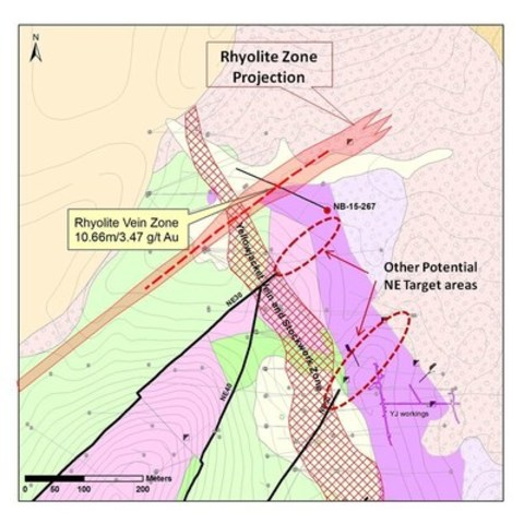 Figure 1. Drill hole map showing the new Rhyolite Zone with new drill hole location. (CNW Group/Corvus Gold Inc.)
