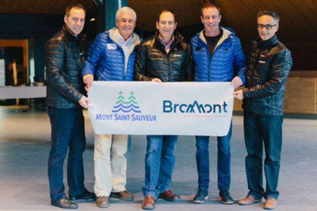 Option Northeast, a first in the Quebec ski industry, presented by (left to right): Claude Péloquin, VP Bromont, montagne d'expériences, Louis Dufour, chair of the board, Mont Saint-Sauveur, Charles Désourdy, president, Bromont, montagne d'expériences, Louis Philippe Hébert, president and CEO Mont Saint-Sauveur and Christian Charette, VP Bromont, montagne d'expériences. (CNW Group/Mont Saint-Sauveur)