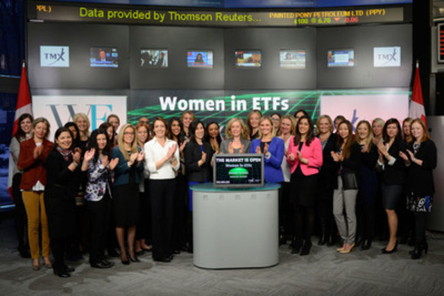 Sue Lemon, CEO, Toronto CFA Society joined Tanya Rowntree, Vice-President, Regional Sales, TMX Equity Transfer Services and Co-Chair of the Canadian Chapter of Women In ETFs to open the market to celebrate International Women's Day. To honour International Women's Day on March 8, WE will open the market at nine exchanges worldwide.  The celebrations will include corporate sponsors and members, and will take place March 2-12. (CNW Group/TMX Group Limited)